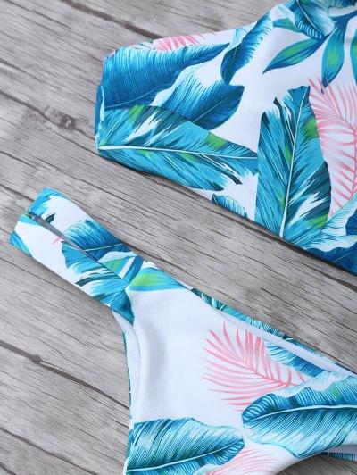 Palm Tree High Neck Bikini Set - WHITE M Mobile