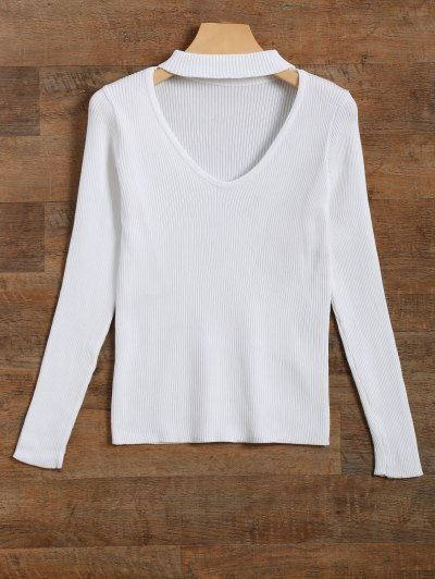 Ribbed Cut Out Choker Jumper - WHITE M Mobile