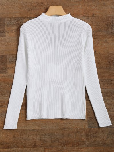 Ribbed Cut Out Choker Jumper - WHITE S Mobile