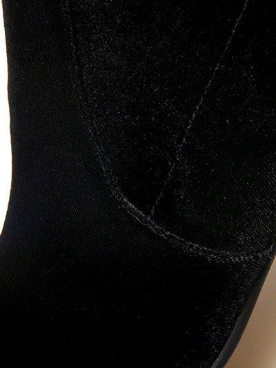Chunky Heel Velvet Sock Boots - BLACK 37 Mobile