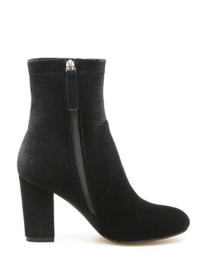 Chunky Heel Velvet Sock Boots - BLACK 38 Mobile