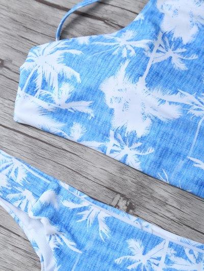 Coconut Palm High Neck Bikini Set - BLUE AND WHITE XL Mobile