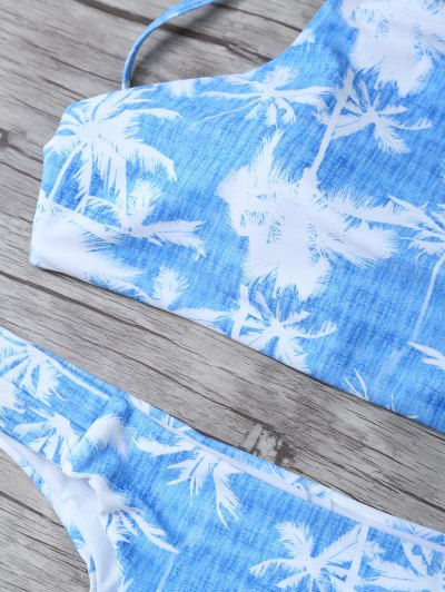 Coconut Palm High Neck Bikini Set - BLUE AND WHITE S Mobile