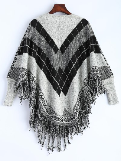 Plaid Batwing Sleeve Sweater - COLORMIX ONE SIZE Mobile
