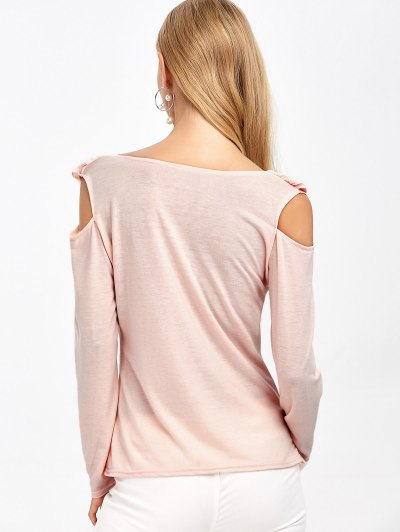Cold Shoulder V Neck Ruffles T-Shirt - PINK M Mobile