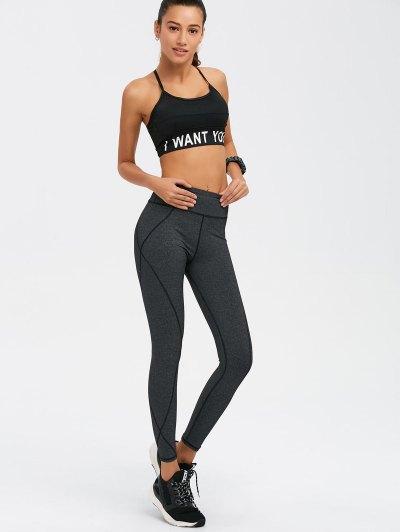 Graphic Bra and Bodycon Yoga Leggings - BLACK S Mobile