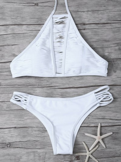 Sheer Stripe High Neck Bikini Set - WHITE M Mobile