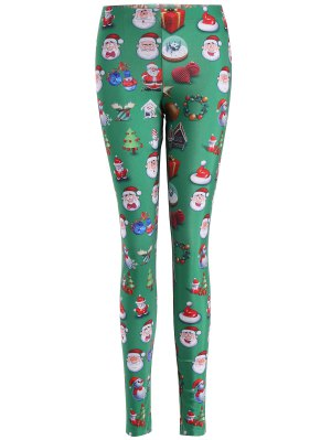Santa Claus Skinny Leggings - Green