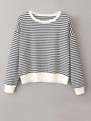 Striped Round Neck Pullover Knitwear - White And Black
