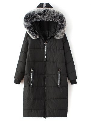 Hooded Number Patch Quilted Coat - Black