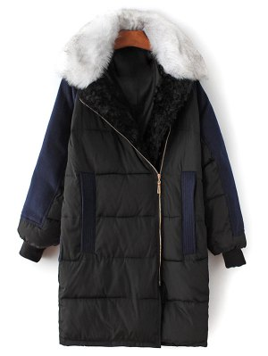 Wool Panel Fur Collar Quilted Coat - Black