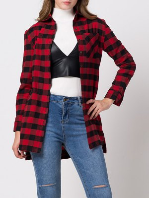 Checked High-Low Shirt - Red