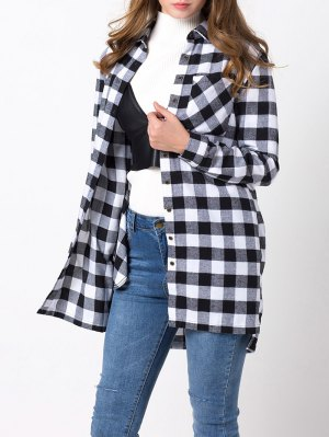 Checked High-Low Shirt - White And Black