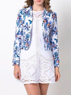 Open Front Floral Blazer - Blue