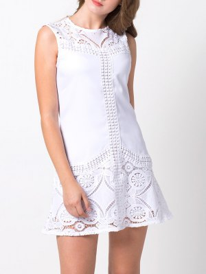 Lace Insert Cut Out A-Line Dress - White