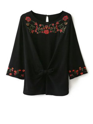 Embroidered Front Knot Blouse - Black