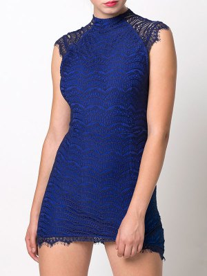 Asymmetric Lace Mini Dress - Blue