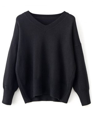 V Neck Long Sleeve Pullover Knitwear - Black