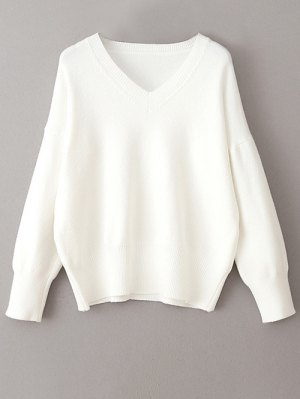 V Neck Long Sleeve Pullover Knitwear - White