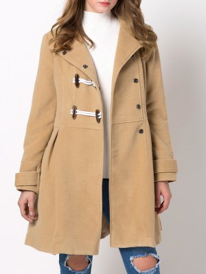 Hooded Skirted Duffle Coat - Camel