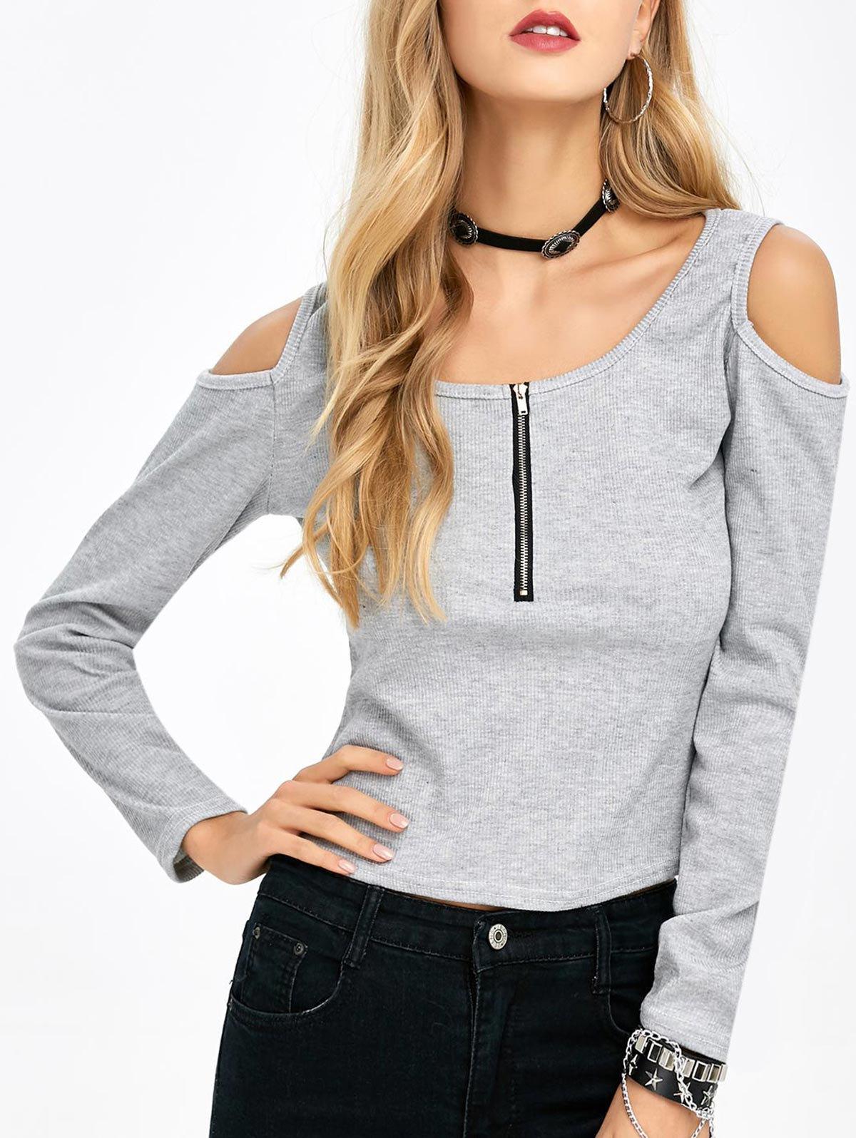 Scoop Neck Cold Shoulder Zipper T-Shirt