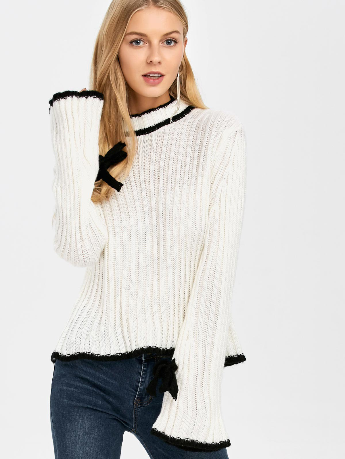 Stand Neck Bell Sleeve Sweater