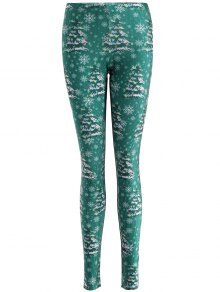 Skinny Christmas Festival Leggings - Green