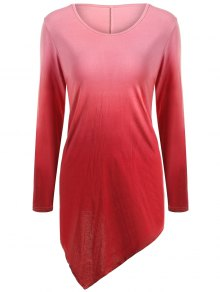 Buy Ombre V Neck Asymmetrical Tee L RED
