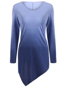 Buy Ombre V Neck Asymmetrical Tee 2XL PURPLISH BLUE