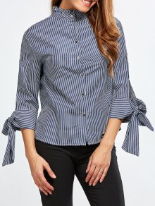 Back Buttons Striped Blouse