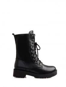 Chunky Heel Mid Calf Combat Boots - Black