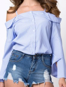 Flare Sleeve Cold Shoulder Blouse