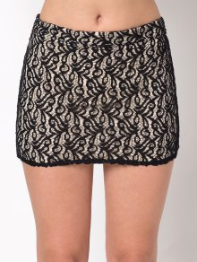 Lace Panel Bodycon Mini Skirt