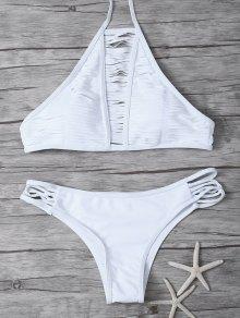 Sheer Stripe High Neck Bikini Set - White