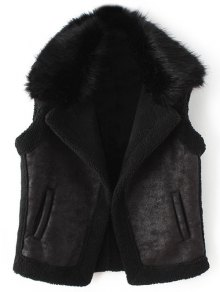 Detachable Fur Collar Suede Waistcost - Black L