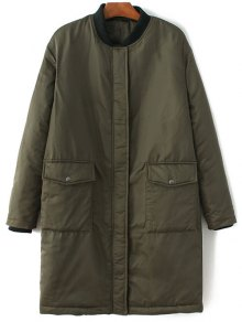 Stand Neck Padded Bomber Coat - Army Green L