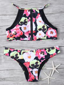 Floral Print High Neck Zip Front Bikini