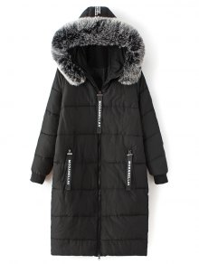 Hooded Number Patch Quilted Coat