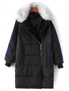 Wool Panel Fur Collar Quilted Coat