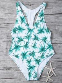 Palm Tree Print One Piece Swimsuit