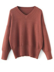 V Neck Long Sleeve Pullover Knitwear