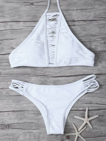 Sheer Stripe High Neck Bikini Set