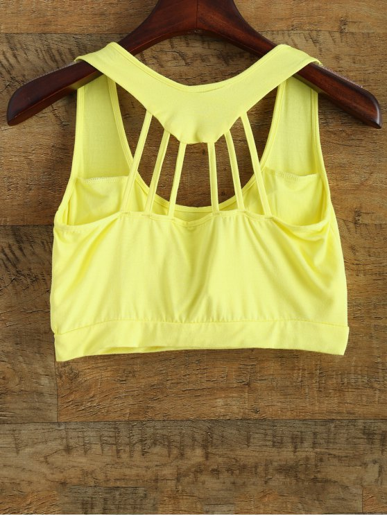 Padded Back Strappy Yoga Top - YELLOW ONE SIZE Mobile