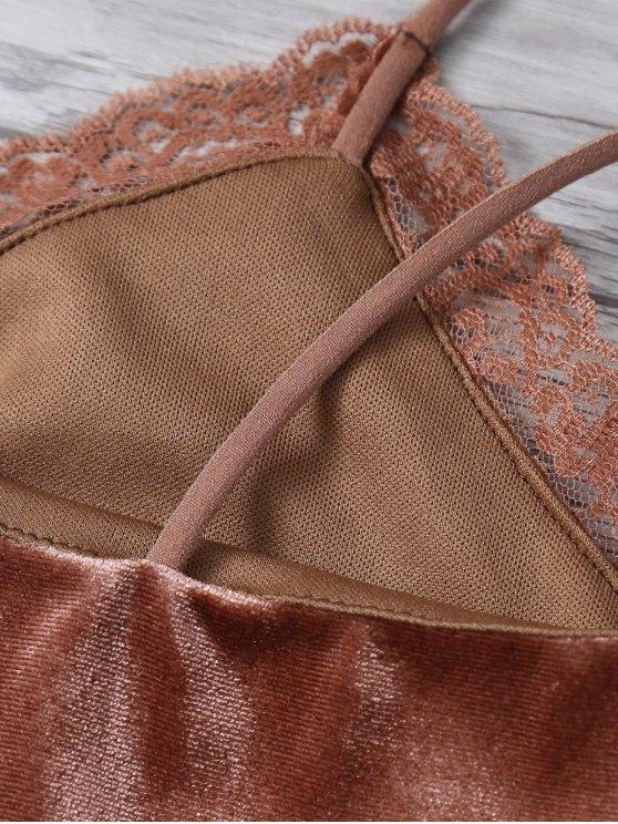Lace Trim Velvet Camisole Top - COFFEE L Mobile