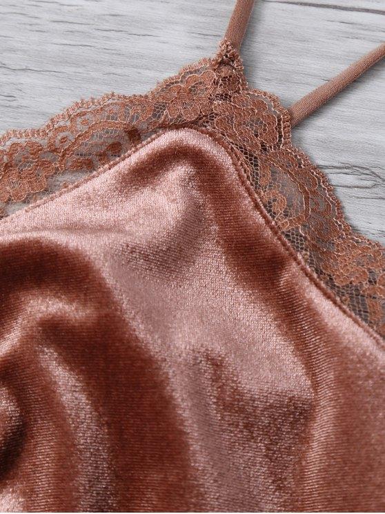 Lace Trim Velvet Camisole Top - COFFEE M Mobile