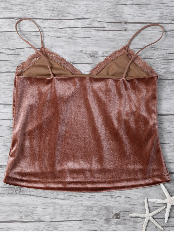 Lace Trim Velvet Camisole Top - COFFEE S Mobile