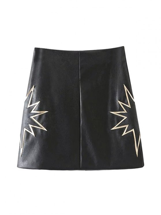 women PU Printed A-Line Skirt - BLACK S