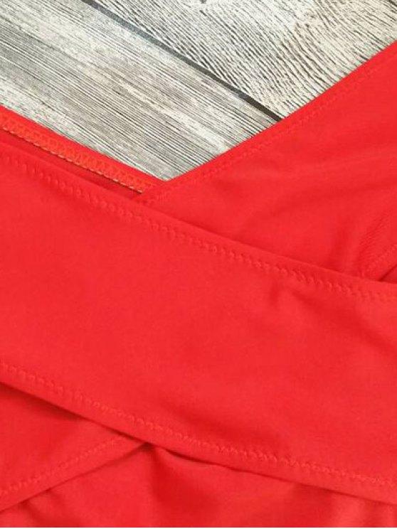 Cut Out Bandage Bikini Set - RED M Mobile