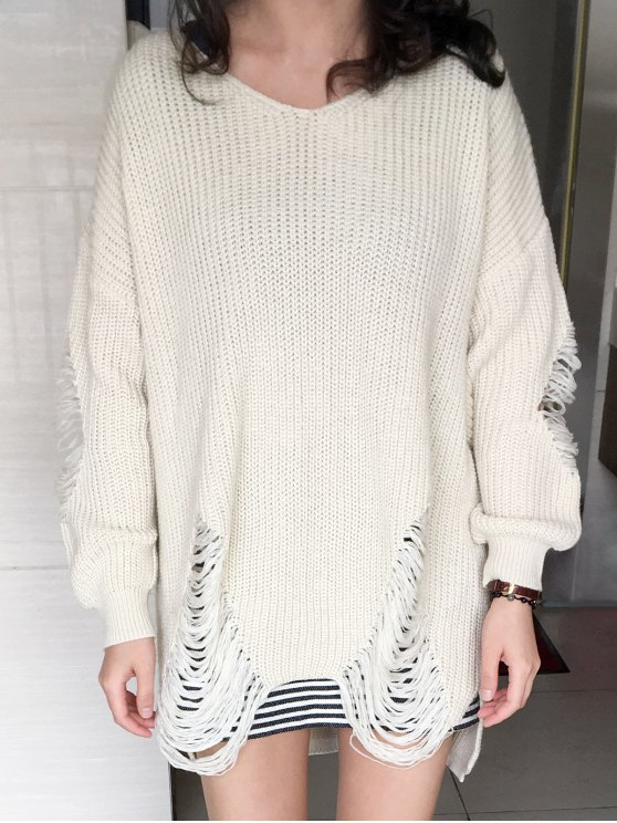 Loose High Low Ripped Pullover Sweater - GLITTER CREAMY WHITE 2XL Mobile