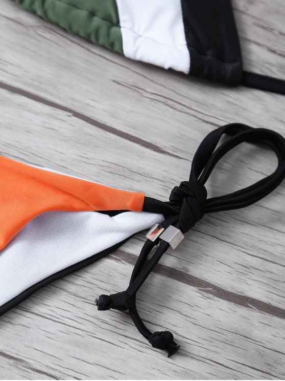 Color Block Geometric Bikini Set - BLACK S Mobile